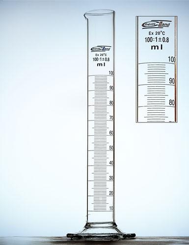 Matavimo cilindras B kl., stiklo pagrindas.
